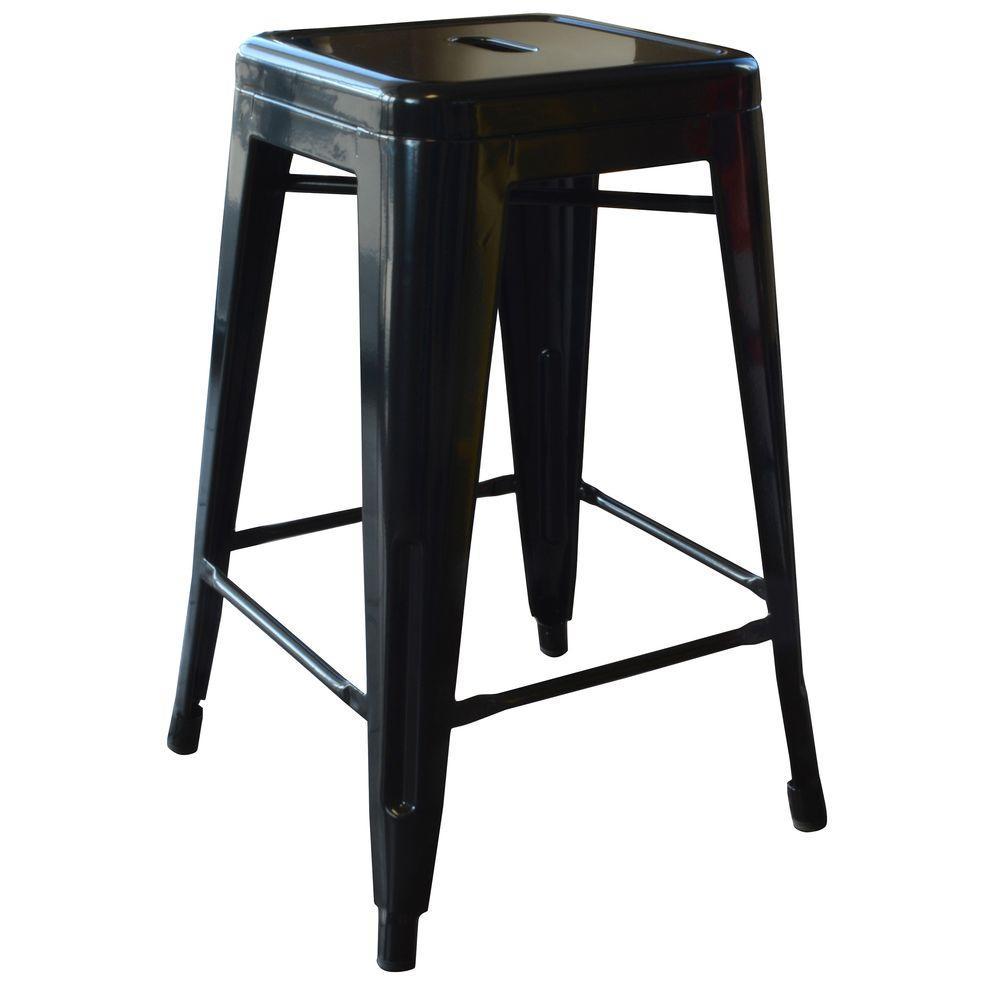 Loft Style 24 in. Stackable Metal Bar Stool in Black