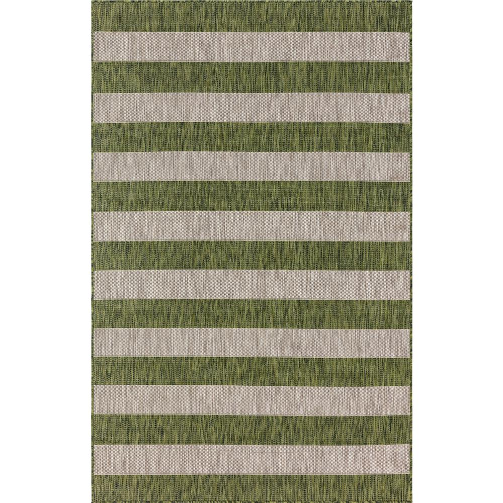 Unique Loom Outdoor Distressed Stripe Green 6 ft. x 9 ft. Area Rug