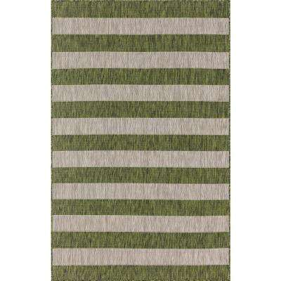 Outdoor Distressed Stripe Green 6 ft. x 9 ft. Area Rug
