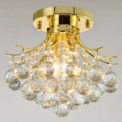 Empire 12 in. 2-Light Polished Gold Crystal Semi-Flush Mount