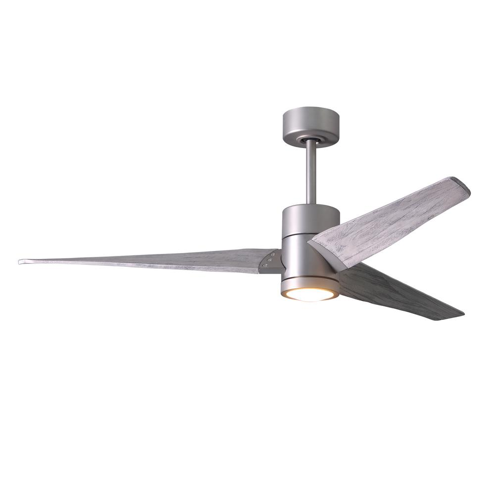 Atlas Super Janet 60 in. LED Indoor/Outdoor Damp Brushed Nickel Ceiling Fan with Light with Remote Control and Wall Control