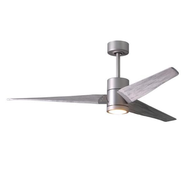 Super Janet 60 in. LED Indoor/Outdoor Damp Brushed Nickel Ceiling Fan with Light with Remote Control and Wall Control