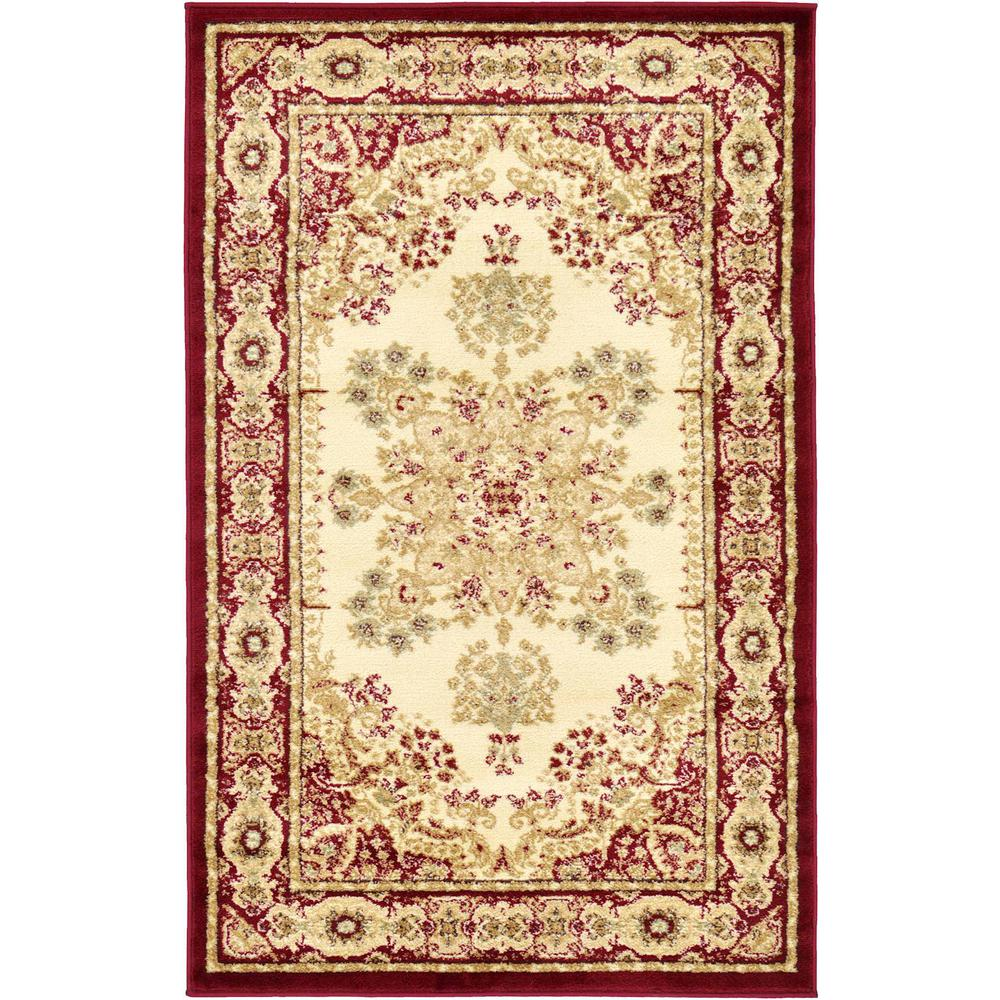 Unique loom versailles cream and red 3 ft 3 in x 5 ft 3 for Cream and red rugs