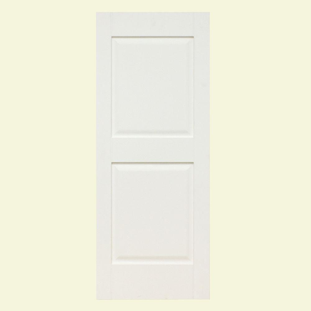 null Plantation 14 in. x 47 in. Solid Wood Raised Panel Exterior Shutters 4 Pair Primed-DISCONTINUED