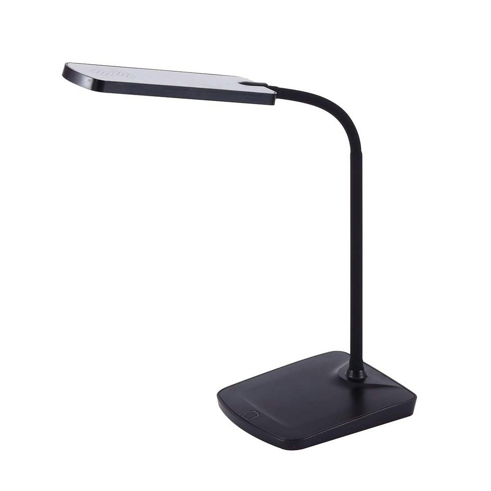 16-1/2 in. Black Adjustable Silicone Neck Dimmable LED Desk Lamp with