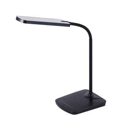 16-1/2 in. Black Adjustable Silicone Neck Dimmable LED Desk Lamp with USB Charging Port and Touch-Sensitive