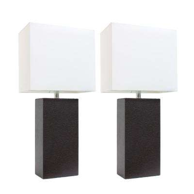 21 in. Modern Espresso Brown Leather Table Lamps with White Fabric Shades (2-Pack)