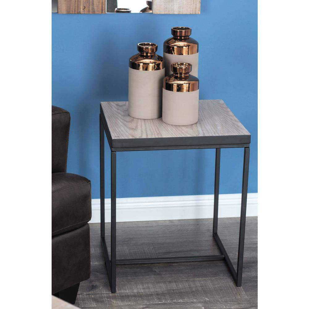 Metal and Wood Square Accent Table in Brown and Black