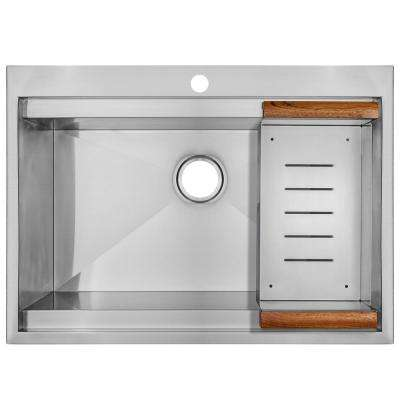 Handcrafted Drop-In Stainless Steel 30 in. x 22 in. x 9 in. 1-Hole Single Bowl Kitchen Sink