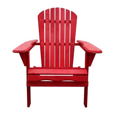 Classic Red Folding Wood Adirondack Chair