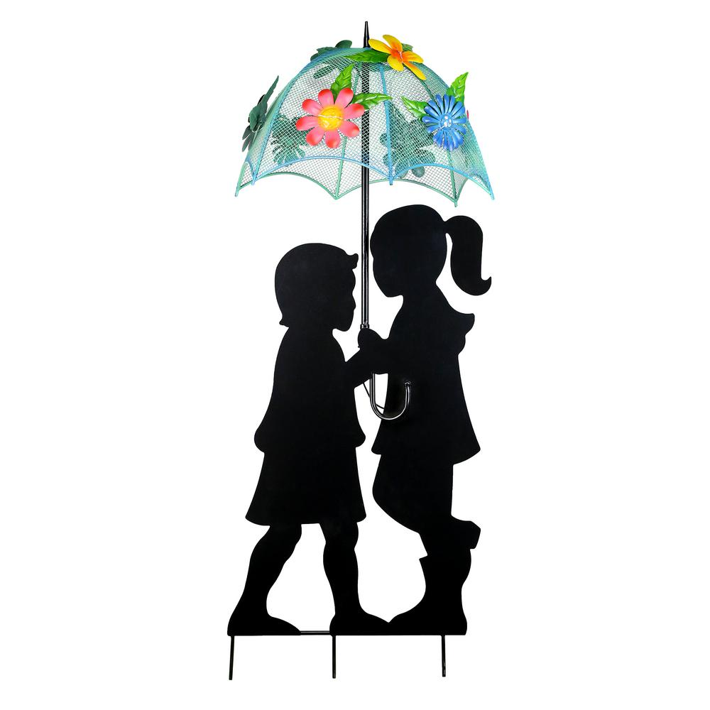 39 in. Tall Solar Boy and Girl with Umbrella Decor and