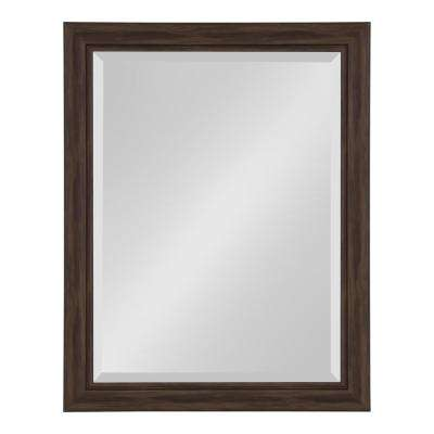 Dalat Rectangle 22 in. x 28 in. Walnut Brown Framed Wall Mirror