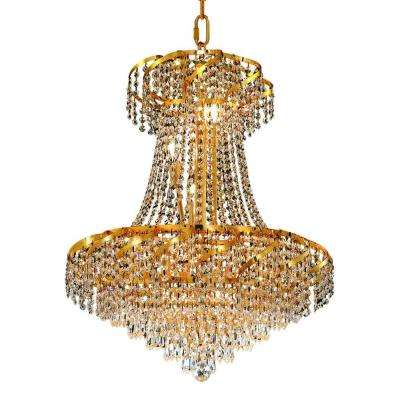 11-Light Gold Chandelier with Clear Crystal
