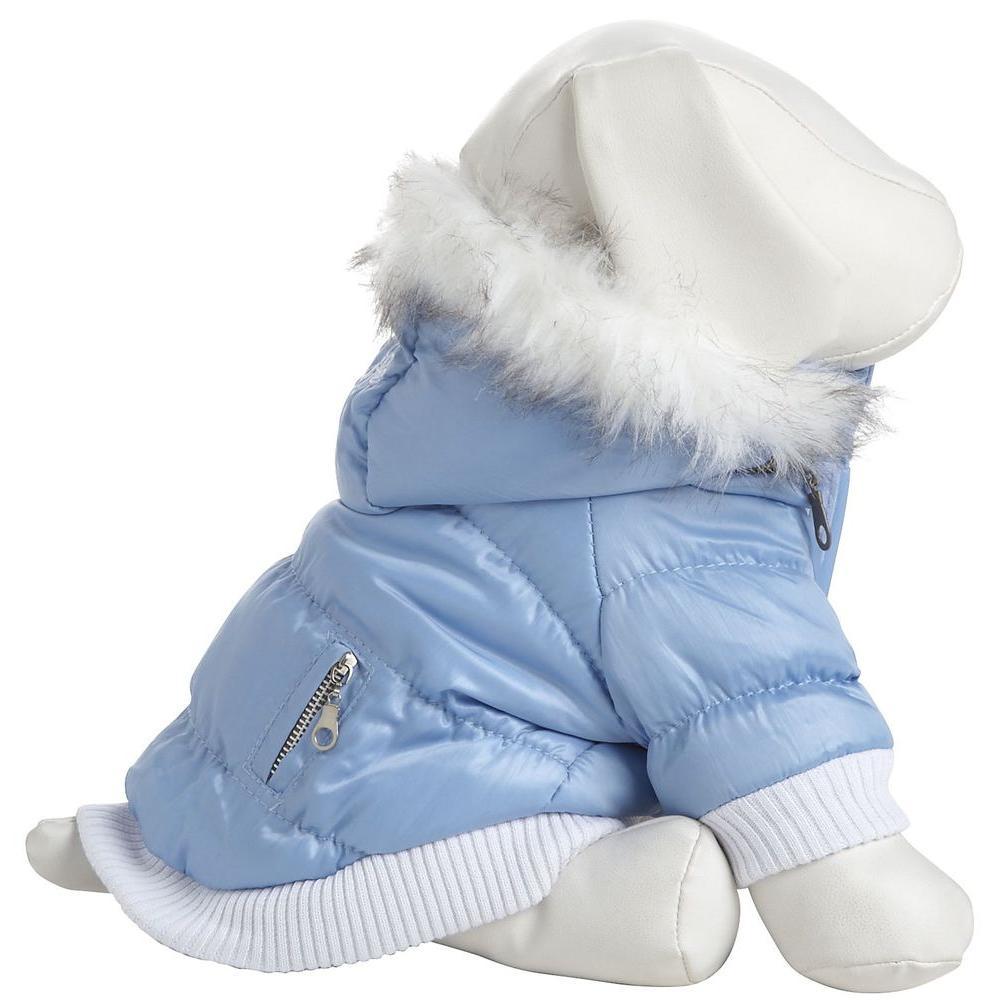 PET LIFE Medium Blue Metallic Fashion Parka with Removable Hood