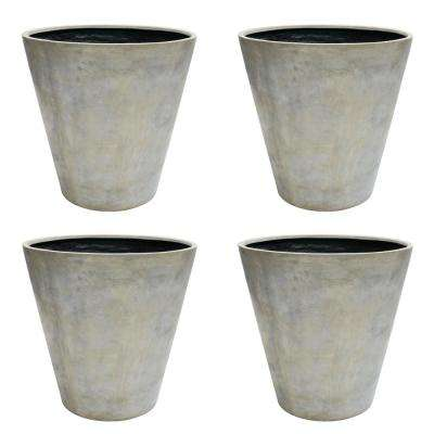 30 in. Dia Aged Granite Composite Commercial Planter (4-Pack)