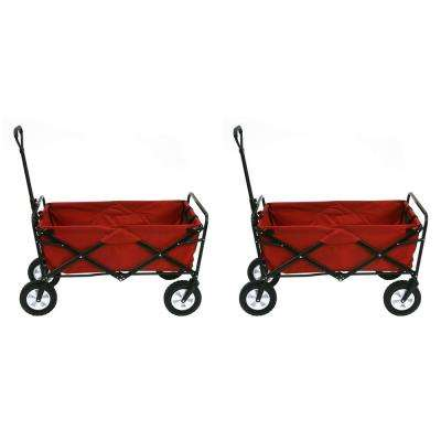 Collapsible Folding Steel Frame Outdoor Garden Wagon, Red (2-Pack)
