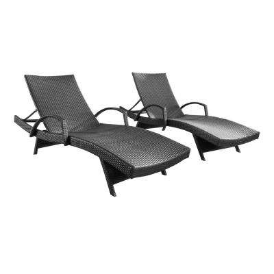 Miller Grey 2-Piece Wicker Outdoor Chaise Lounge with Armrest