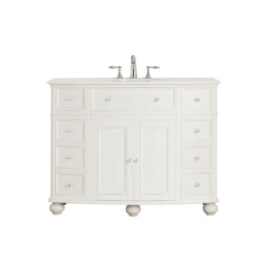 Hampton Harbor 45 in. W x 22 in. D Vanity in White with Cultured Marble Vanity Top in White with White Sink