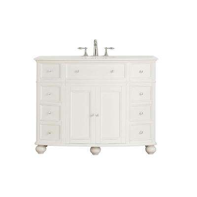 Hampton Harbor 45 in. W x 22 in. D Vanity in White with Marble Vanity Top in White with White Sink