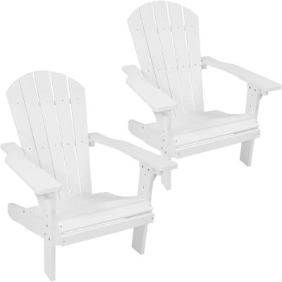 All-Weather White Plastic Adirondack Chair (Set of 2)