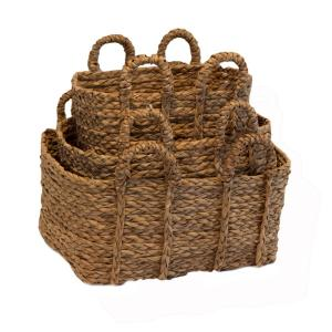 Rectangle Braided Rush Baskets with Ear Handles (Set of 3)
