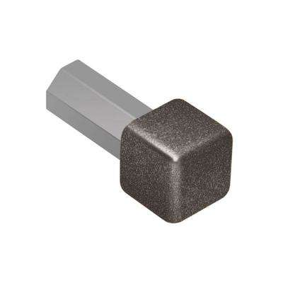 Quadec Light Anthracite Textured Color-Coated Aluminum 3/8 in. x 1 in. Metal Inside/Outside Corner