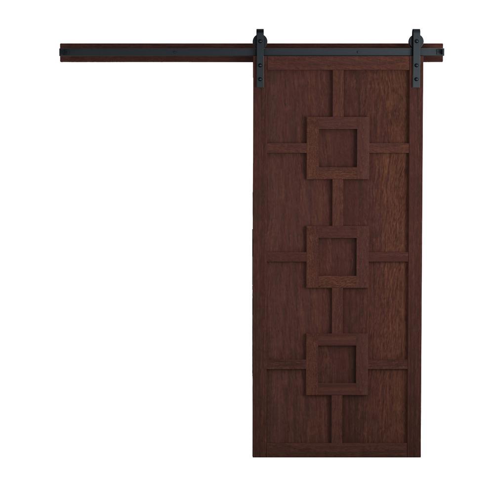42 in. x 84 in. Mod Squad Sable Wood Barn Door with Sliding Door Hardware Kit