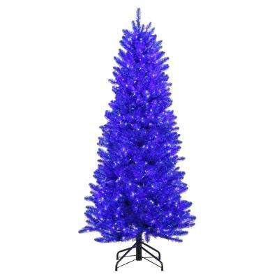6 ft. Pre-Lit Shiny Blue Fraser with Warm White and Blue Color-Changing LED Lights