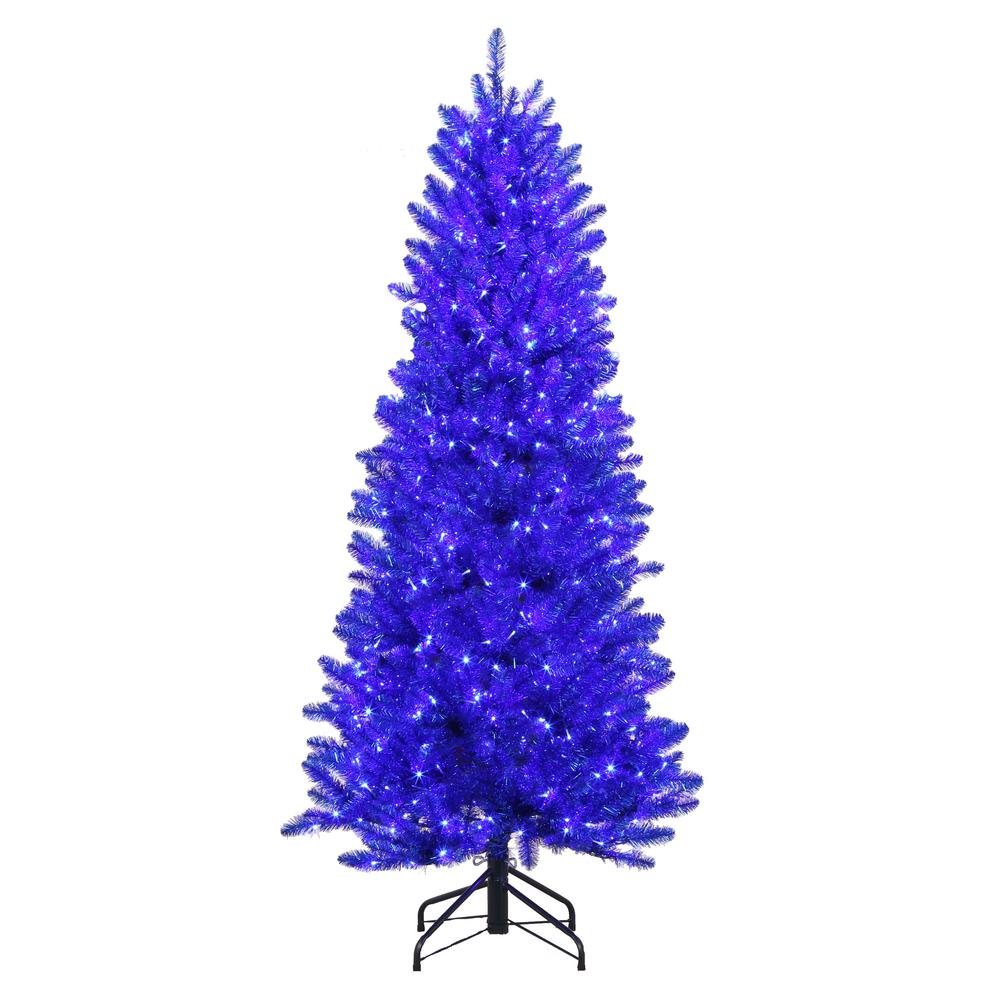 Home Accents Holiday 6 ft. Pre-Lit Shiny Blue Fraser Artificial ...