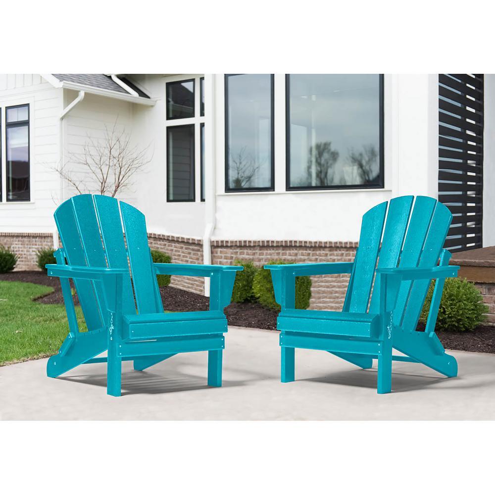 Addison Blue Folding Plastic Outdoor Adirondack Chair