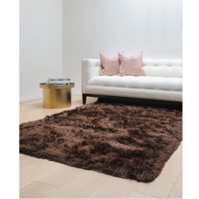 SAMS GOLD IMPORTS Luxe Shag Chocolate 5 ft. x 8 ft. Area Rug, Brown