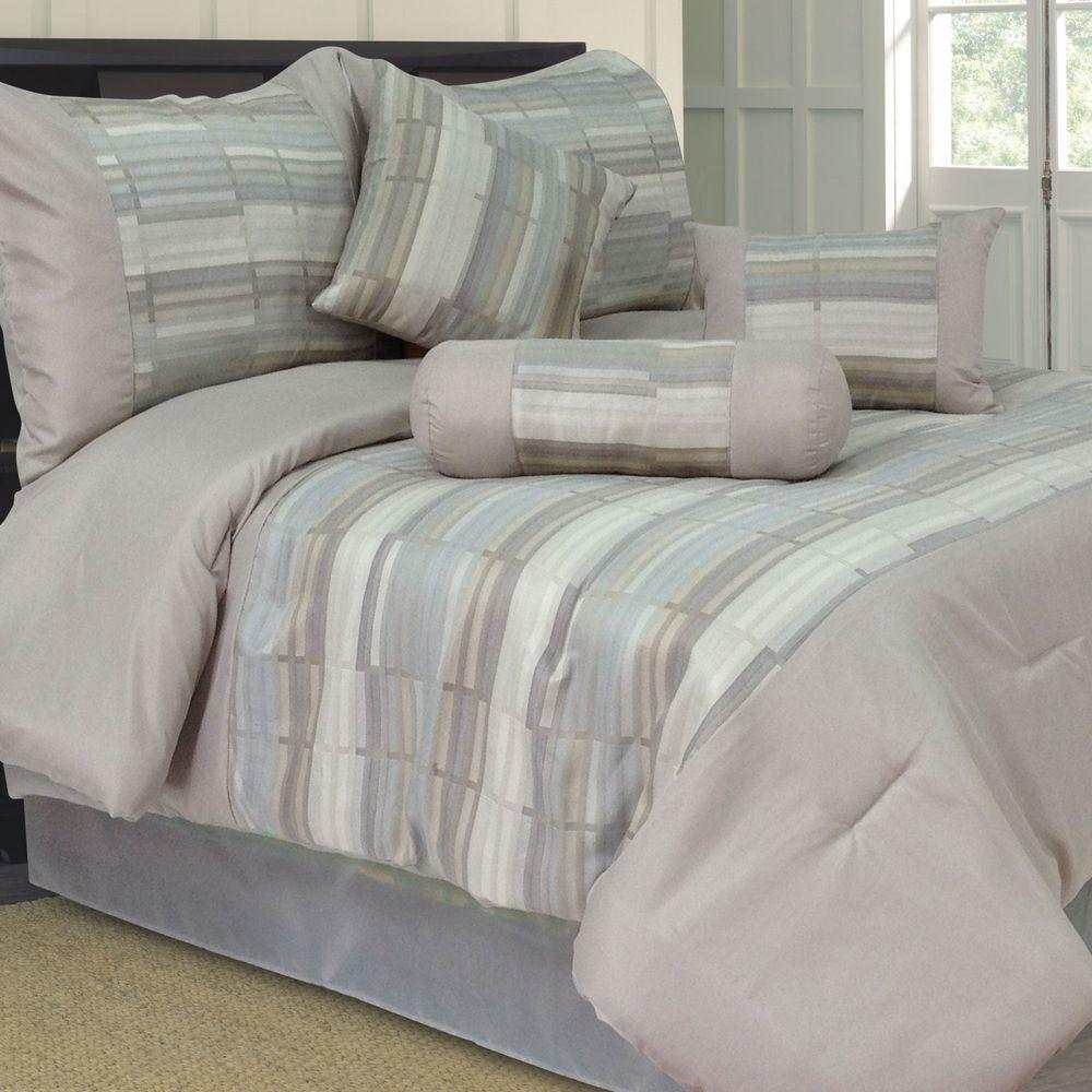 Lavish Home King Diana Jacquard Comforter Set (7-Piece)