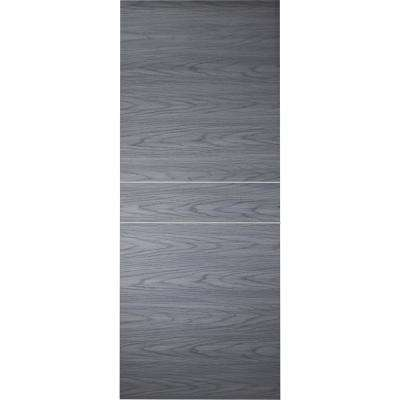 32 in. x 80 in. Luna 2HN Blue Shadow Finished with Aluminum Strips Solid Core Composite Interior Door Slab No Bore