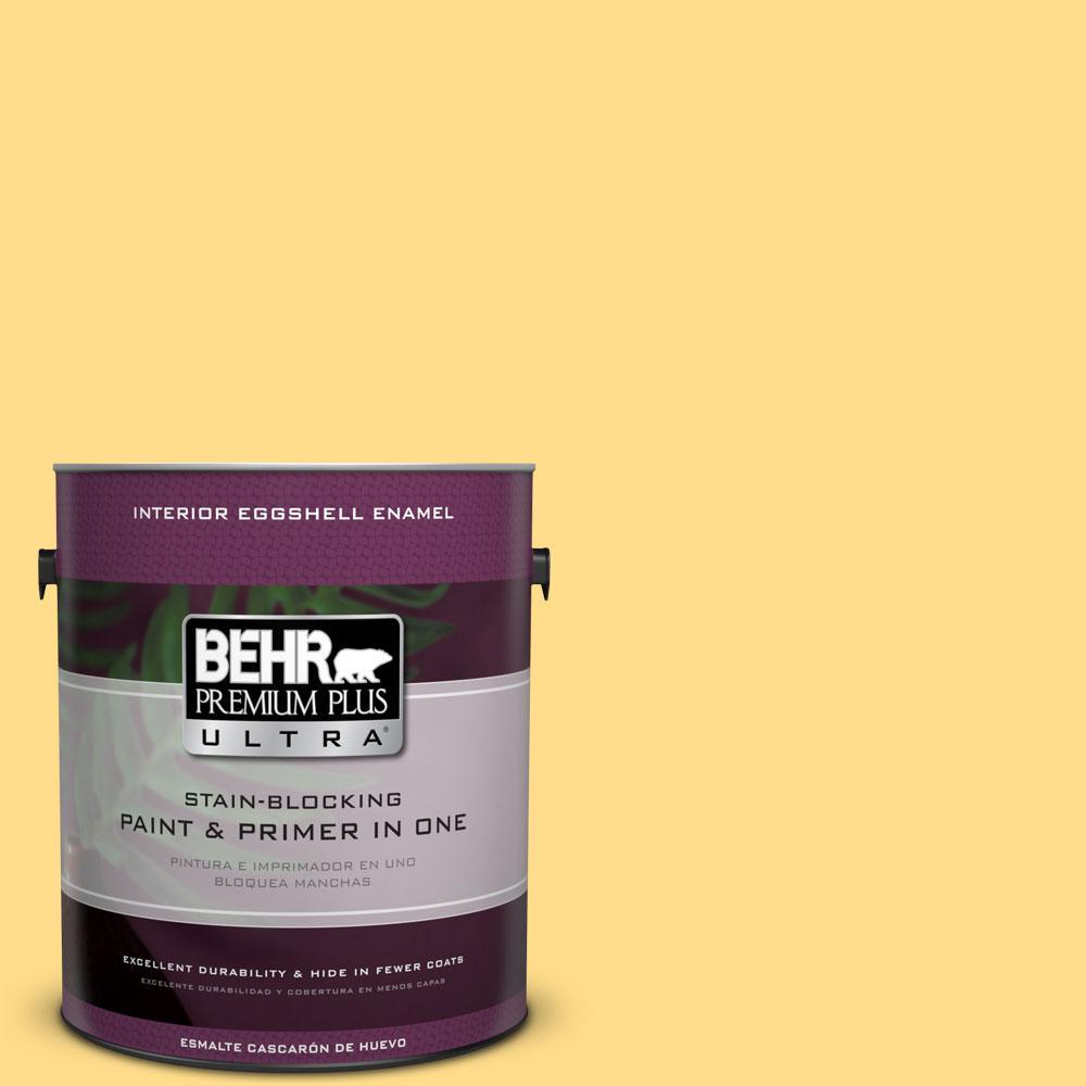 BEHR Premium Plus Ultra 1-gal. #330B-5 Yellow Corn Eggshell Enamel Interior Paint
