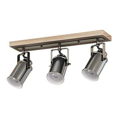 1.7 ft. 3-Light Faux Driftwood Gray with Brushed Nickel Shades Track Lighting Kit