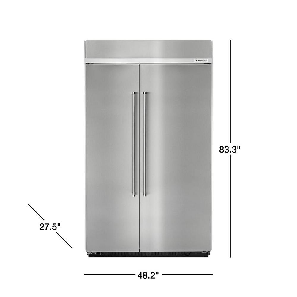 KitchenAid 30 cu. ft. Built-In Side by Side Refrigerator in Stainless Steel