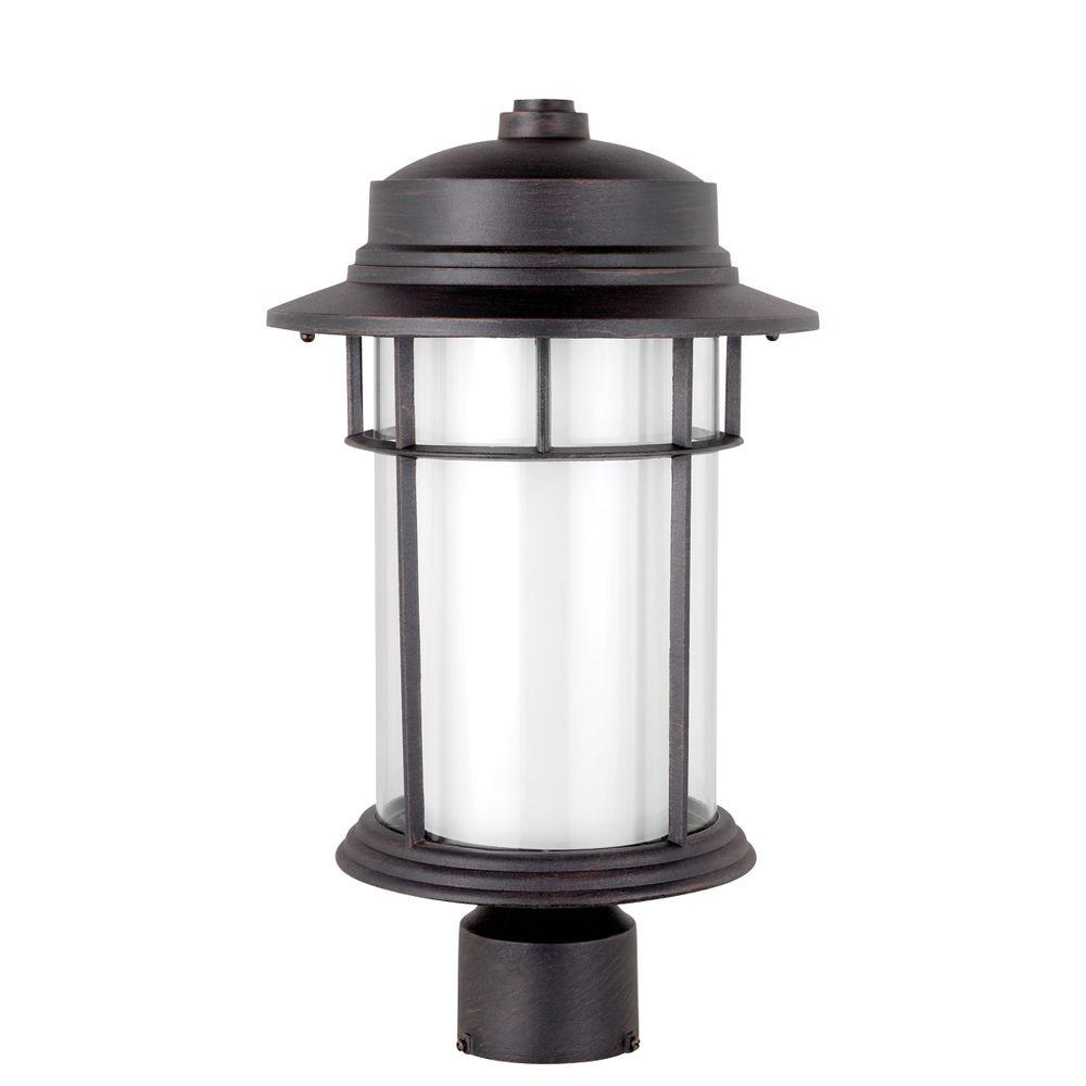 Globe Electric Rustica 16.5 in. Black Outdoor Post Mount Light