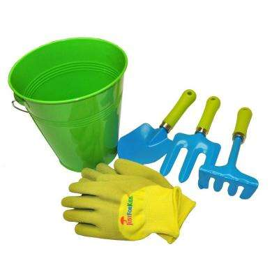 JustForKids Green Water Pail with Tool Set and Glove in Green