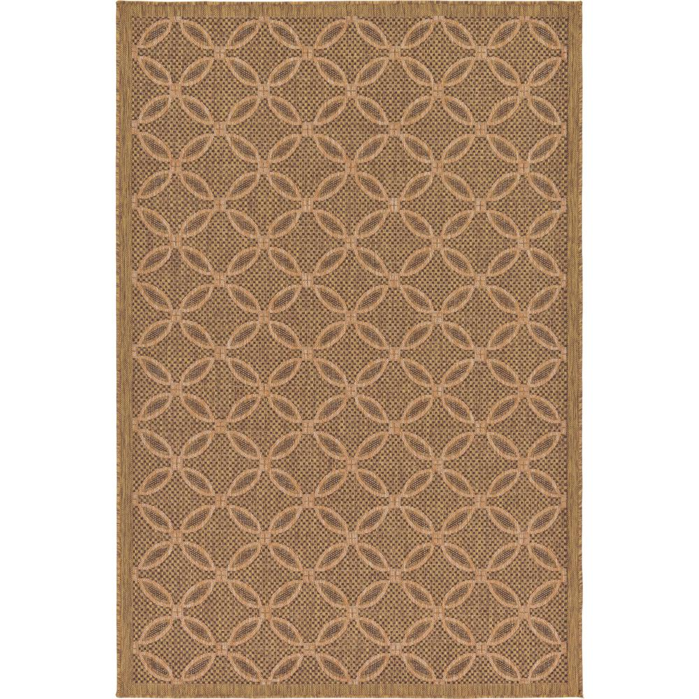 Unique Loom Outdoor Spiral Light Brown 5' 3 x 8' 0 Area Rug