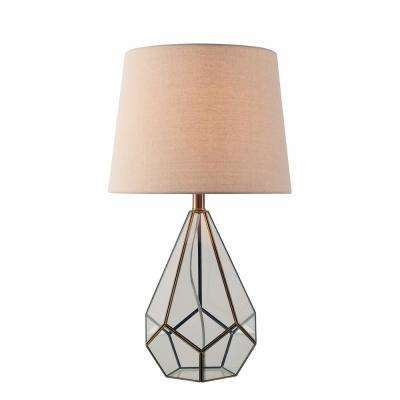 Gemma 26 in Antique Metal Table Lamp with Oatmeal fabric Shade