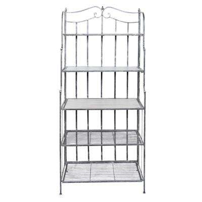 Montclair 30 in. x 16 in. x 67 in. Antique Pewter Barnwood Gray Stained Rubberwood Bakers Rack