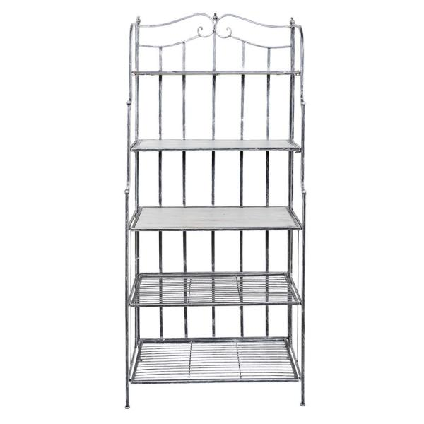 Old Dutch Montclair 30 in. x 16 in. x 67 in. Antique Pewter Barnwood Gray Stained Rubberwood Bakers Rack