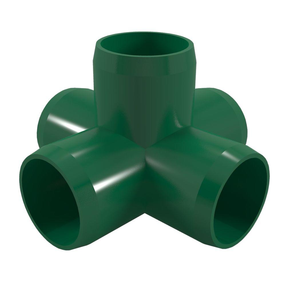 Formufit 1 in. Furniture Grade PVC 5-Way Cross in Green (4-Pack)