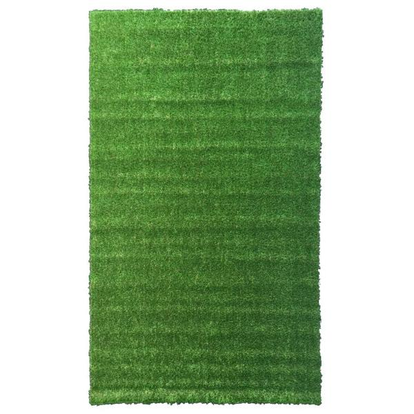 Meadowland Collection 3 ft. 11 in. x 6 ft. 6 in. Heavy Duty Artificial Grass Turf Indoor/Outdoor Carpet Area Rug