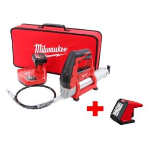 Milwaukee M12 12-Volt Lithium-Ion Cordless Grease Gun XC Kit with Free M12 LED Flood Light by Milwaukee