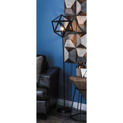 60 in. Modern Metallic Black Hexagonal Prism Metal and Marble Floor Lamp