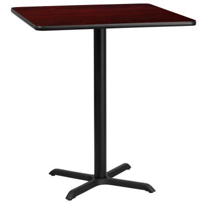 36 in. Square Black and Mahogany Laminate Table Top with 30 in. x 30 in. Bar Height Table Base