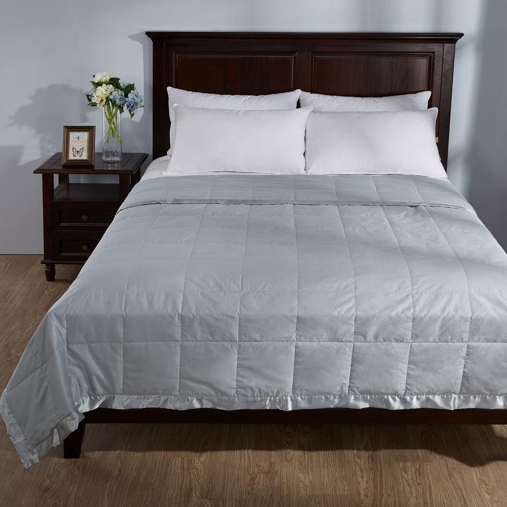 a4c8b04526 Puredown Blue Lightweight Down Full Queen Blanket with Satin Weave ...