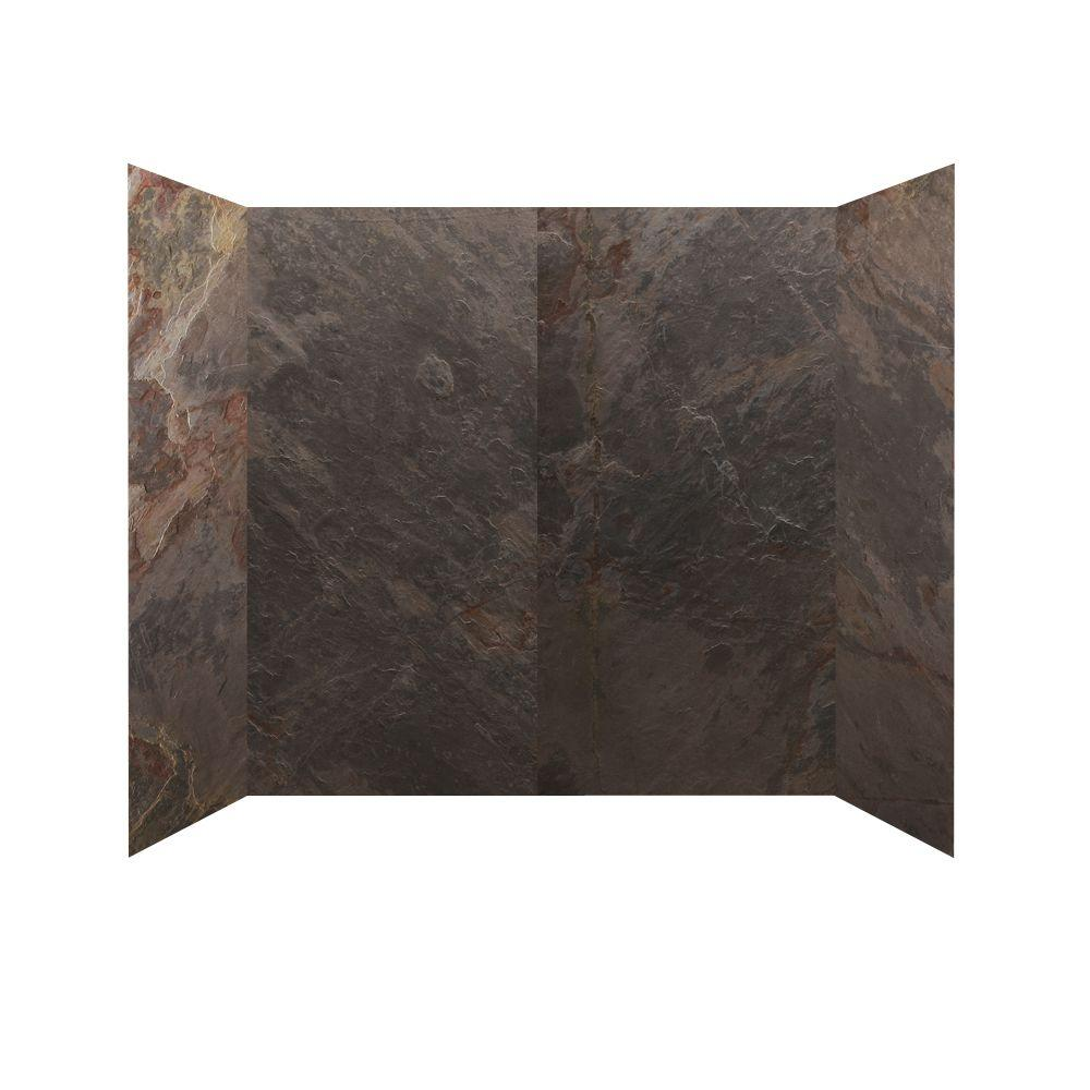 SoterraSlate 30 in. x 60 in. x 60 in.4 Panel Tub Surround in Multi-Color-DISCONTINUED