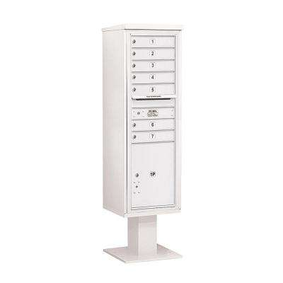 3400 Series 70-1/4 in. 15 Door High Unit White 4C Pedestal Mailbox with 7 MB1 Doors/1 PL6